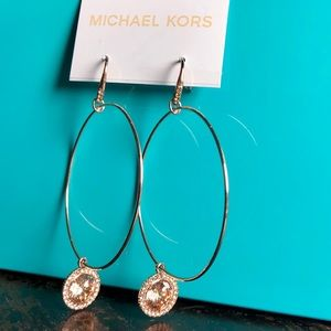 NWT Drop Hoop Charm Earrings